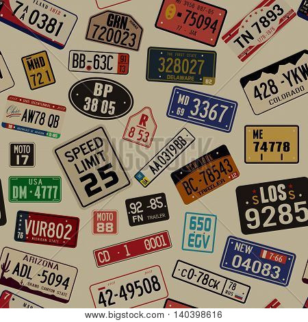 Vector grunge background with car number plates. Seamless pattern
