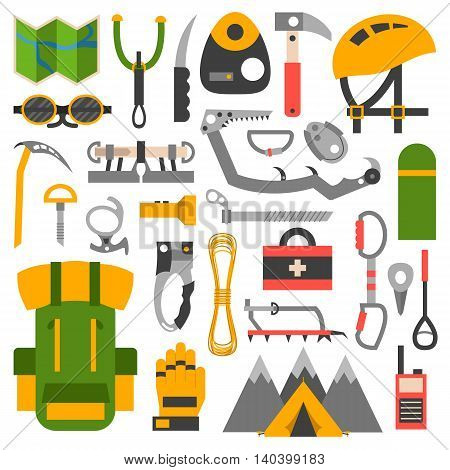Set attributes equipment for climbing. Collection of objects for sport competitions of the championship. Set of climbing school risk man high challenge and training center mountain adventure sport.