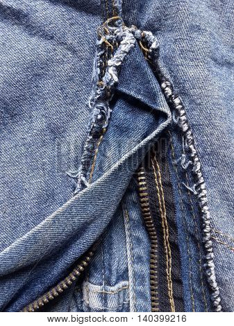 close up zipper shame on textile texture