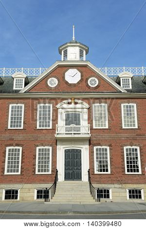 Old Colony House, built in 1741, was served as meeting place for the colonial legislature. This house now is a National Historic Landmark at Washington Square in downtown Newport, Rhode Island, USA.