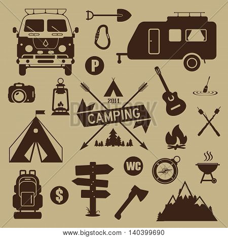 Set of camping equipment and icons. Summer camping.
