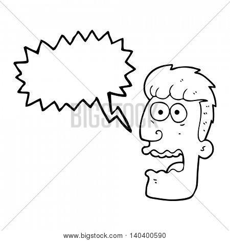 freehand drawn speech bubble cartoon shocked man