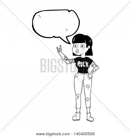 freehand drawn speech bubble cartoon rock girl