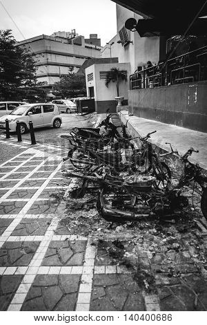 Remains of motorcycles set on fire in Kuala Lumpur, Malaysia