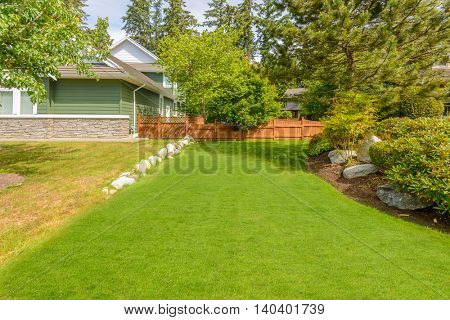 Outdoor landscape garden in North Vancouver, British Columbia, Canada.