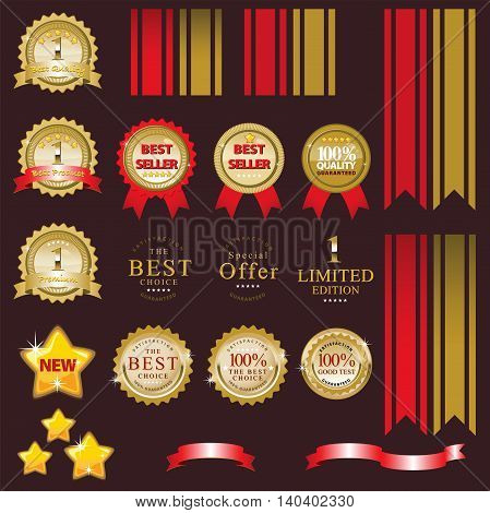 Element design Set of golden vector Commercial Labels and Ribbon templates. This vector file is organized in layers to separate Graphic elements from Text Ribbon Star Shadows and background.