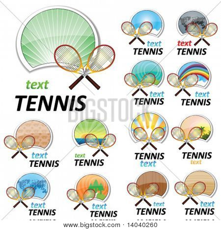 set of tennis signs with backdrops