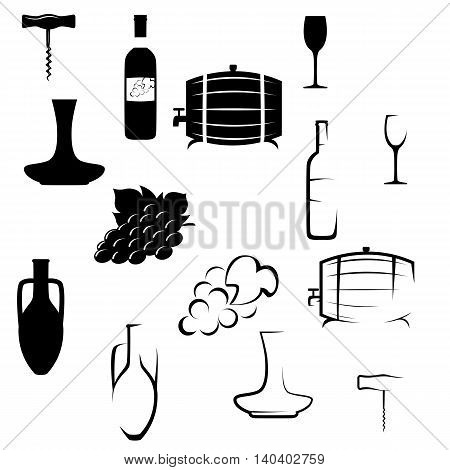 Set of icons on the theme of wine in two different styles