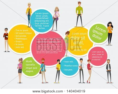 Template for advertising brochure with large group of cartoon business people