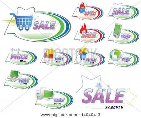 set of shopping signs