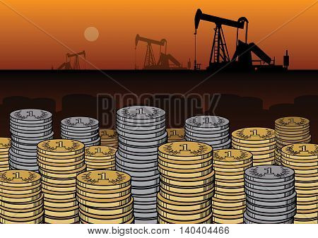 Money and Oil Pumps abstract, vector illustration