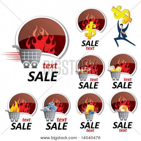 set of sale signs - shopping