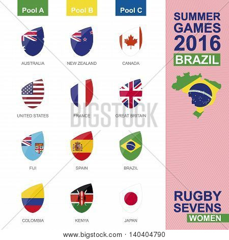 Rugby Sevens Women Summer Games 2016 in Brasil. All Pools All Flag. Vector Illustration.