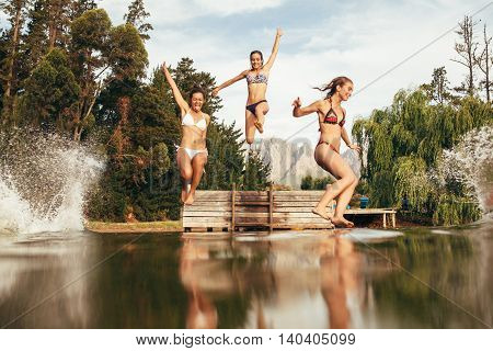 Portrait of young girls jumping into a wilderness lake from the pier. Excited young women jumping off the jetty at the lake