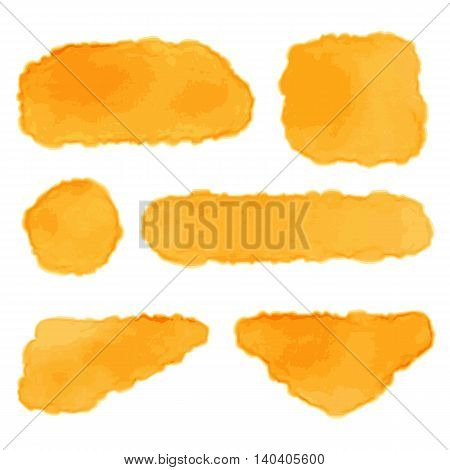 Set of backgrounds in watercolor style. Vector illustration isolated on white. Bright orange spots, circle, rectangle, triangle