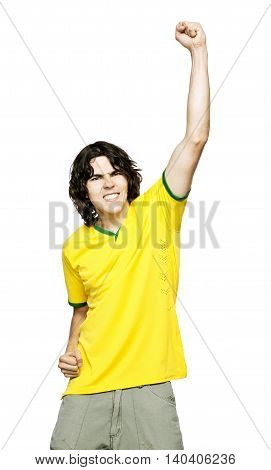 Young Man with yellow shirt or jersey Shouting and feasting I fill of happiness and emotion on white background