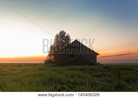 Mist And Barn Houses