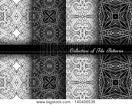Vector Collection of Black and White Seamless Vintage Patterns. Hand Drawn Tile Textures Ethnic Ornaments Abstract Seamless Textures