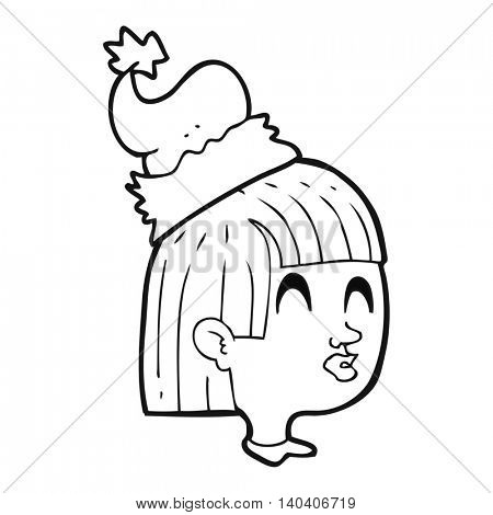 freehand drawn black and white cartoon girl wearing christmas hat