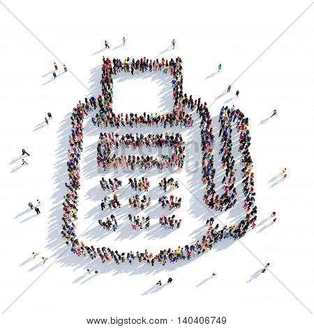 Large and creative group of people gathered together in the shape of a card terminal. 3D illustration, isolated against a white background. 3D-rendering.