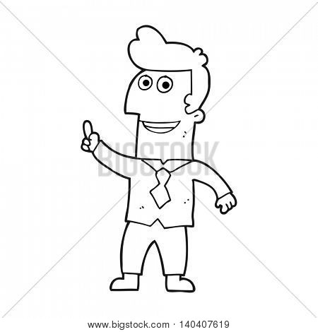 freehand drawn black and white cartoon businessman pointing