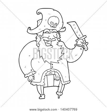 freehand drawn black and white cartoon pirate captain