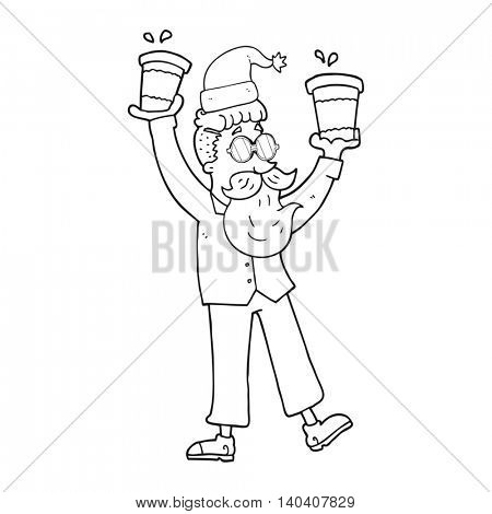 freehand drawn black and white cartoon man with coffee cups at christmas