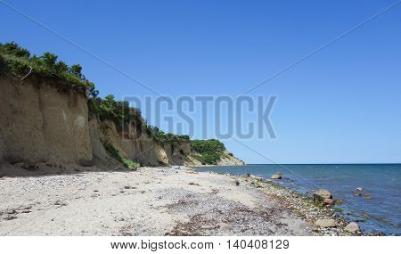 Wooded Cliff at the beach on Hiddensee Island Germany