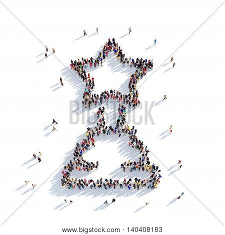 Large and creative group of people gathered together in the shape of reward turd, cinema. 3D illustration, isolated against a white background. 3D-rendering.