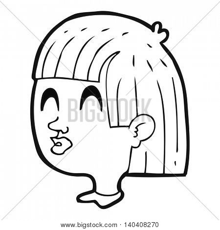 freehand drawn black and white cartoon female face