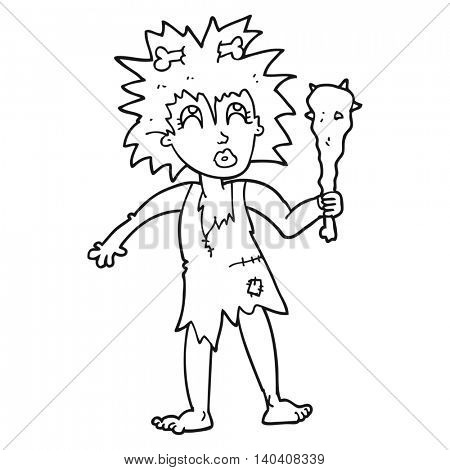 freehand drawn black and white cartoon cave woman