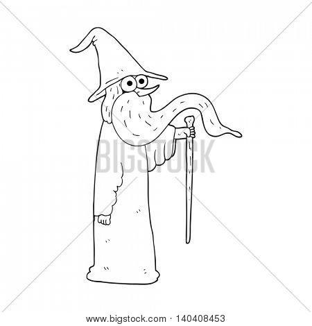 freehand drawn black and white cartoon wizard