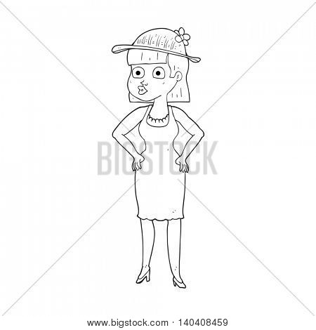 freehand drawn black and white cartoon woman wearing sun hat