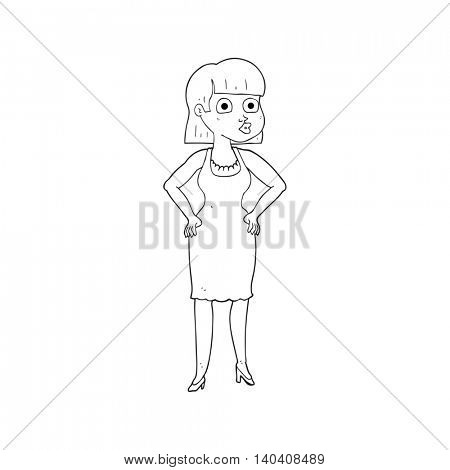 freehand drawn black and white cartoon woman with hands on hips
