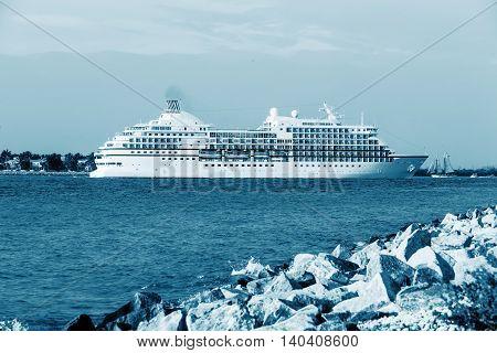 Luxury Cruise Ship Anchored inGulf of Mexico near Key West