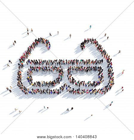 Large and creative group of people gathered together in the shape of 3D glasses. 3D illustration, isolated against a white background. 3D-rendering.