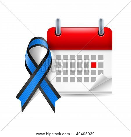 Blue and black awareness ribbon and calendar with marked day. Ocular melanoma symbol