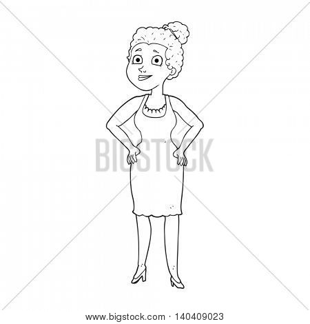 freehand drawn black and white cartoon woman wearing dress