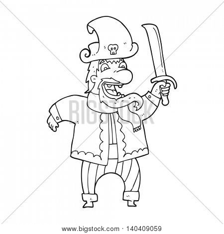 freehand drawn black and white cartoon laughing pirate captain