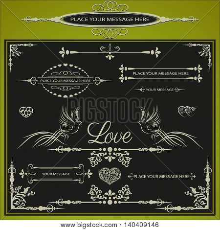 vector illustration with a set of frameworks, patterns, patterns, text, hearts and doves with the words love