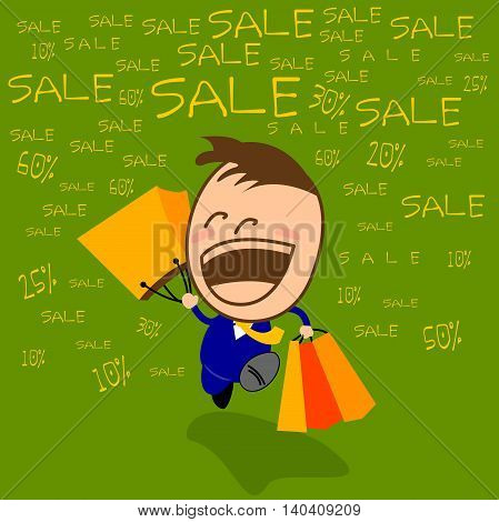 Festival SALE in department stores. Young businessman cute Happy to be shopping in the festival.