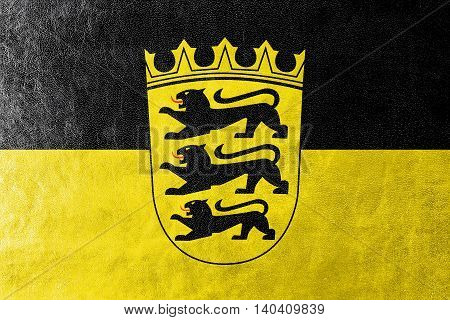 Flag Of Baden-wurttemberg With Coat Of Arms, Germany, Painted On Leather Texture