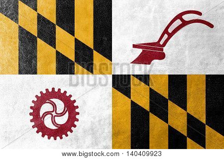 Flag Of Baltimore County, Maryland, Usa, Painted On Leather Texture