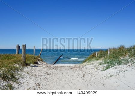 Path to the beach on a dune on Hiddensee Island Germany