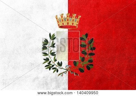 Flag Of Bari With Coat Of Arms, Italy, Painted On Leather Texture