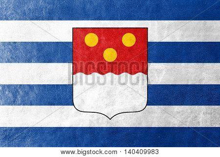Flag Of Batumi, Georgia, Painted On Leather Texture