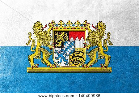 Flag Of Bavaria With Coat Of Arms, Germany, Painted On Leather Texture