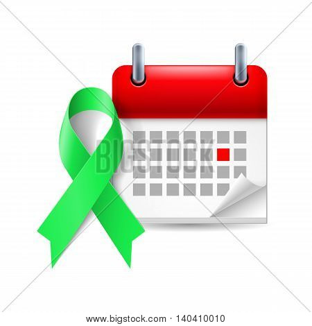 Green awareness ribbon and calendar with marked day. Kidney cancer symbol