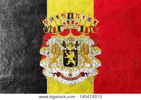 Flag Of Belgium With Coat Of Arms, Painted On Leather Texture