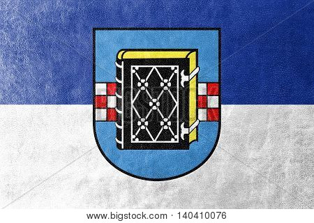 Flag Of Bochum With Coat Of Arms, Germany, Painted On Leather Texture